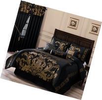 Chezmoi Collection 7-Piece Jacquard Floral Comforter Set/Bed