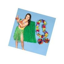 Child Hula Kit - 4 Pc Set Includes Hula Skirt, Flower Lei