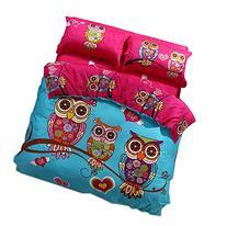 Cliab Owl Bedding for Girls Queen Size Duvet Cover Set Queen