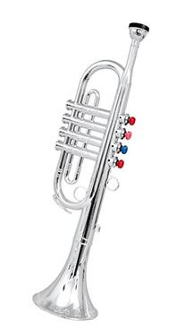Click n' Play Metallic Silver Kids Trumpet Horn Wind