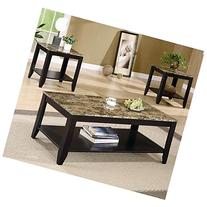 Coaster 3pc Coffee Table & End Table Set Faux Marble Top