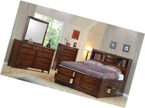 Hillary Queen Bookcase Bed with Underbed Storage Drawers