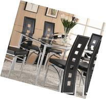Coaster Rectangular Dining Table with Glass Top Metal Legs,