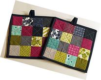Monochrome Quilted Pot Holders Set of Two