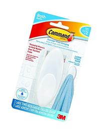 Command Towel Hook, Large, Clear Frosted, 1-Hook, 1-Large