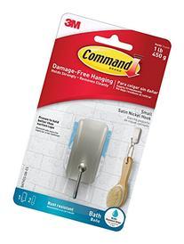 Command 076308728588 Bath, Satin Nickel, 1-Hook, 2-Small