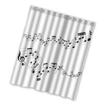 "CozyBath Music Notes Waterproof Polyester Fabric 60"" x 72"""
