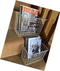 Cream Wire Basket Magazine Post Toiletries Stairs Storage