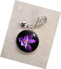 Crocus Purple Violet Flower .925 Sterling Silver Charm