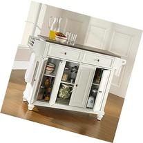 Crosley Furniture Cambridge Stainless Steel Top Kitchen Island, White