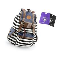 DAKIA Unisex Fashionable Canvas School Bag Super Cute Stripe
