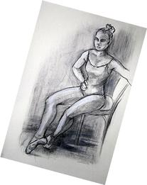 Dancer's Break Time charcoal drawing