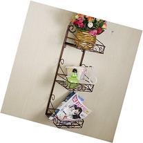 Dazone Decorative Wall Mounted 3 Tier Shelf Baskets / Tower