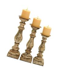 Deco 79 Wood Candle Holder, 15 by 14 by 12-Inch, Set of 3