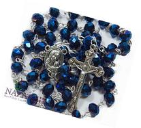 Deep Blue Crystal Beads Rosary Catholic Necklace Holy Soil