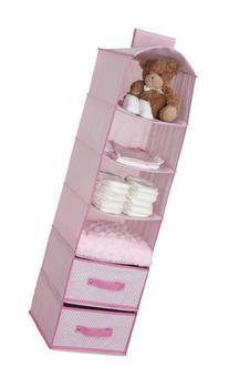 Delta Children 6 Shelf Storage with 2 Drawers, Pink