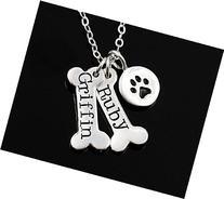 Personalized Dog Necklace . Dog Bone & Dog Paw Print