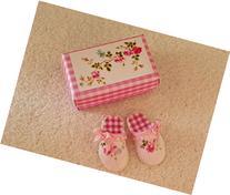Dollhouse Miniature Artisan Ladies Slippers in Pink Rose &