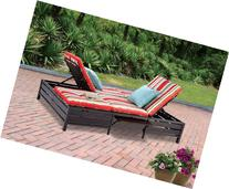 Double Chaise Lounger - This red stripe outdoor chaise