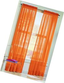 Dreamkingdom - Solid Orange Sheer Curtains/Drape/Panels/