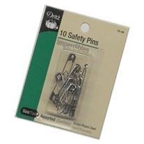 Dritz 10-Piece Safety Pins, Asst Sizes, Nickel Finish