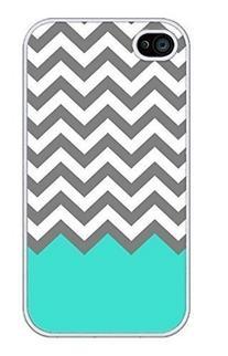 EVERMARKET Chevron Pattern Turquoise Grey White Plastic Case