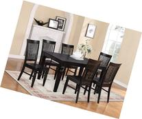 East West Furniture WEST7-BLK-W 7-Piece Dining Table Set