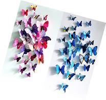 ElecMotive 12 Purple + 12 Blue 3D Butterfly Stickers Home