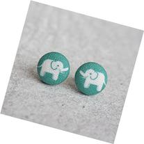 Elephant Fabric Button Earrings