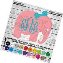 Elephant with Bow Monogram Vinyl Die Cut Decal Sticker for