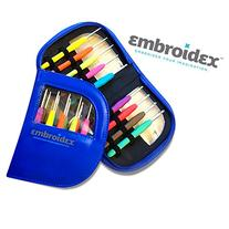 Embroidex 9 Pc Ergonomic Crochet Hooks Needles - Color Coded