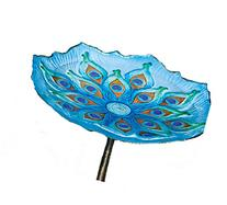 "Evergreen Garden Peacock Glass Bird Bath Bowl with Metal Stake - 11""L x 11"