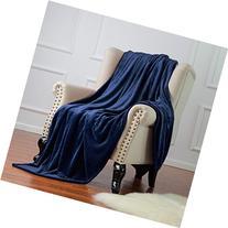 Bedsure Flannel Fleece Luxury Blanket Navy Twin Size