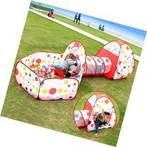 EocuSun Polka Dot 3-in-1 Folding Kids Play Tent with Tunnel