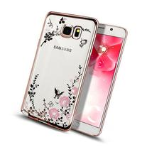 Galaxy Note 5 Case,NSSTAR Pink Butterfly Floral Flower Bling