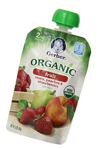 Gerber Organic 2nd Foods Pouches, Pears, Peaches,
