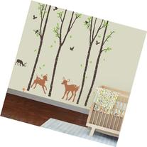 Giant Wall Sticker Decals - Birch Tree Forest with Deers and