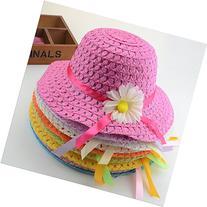Girls Sunflower Straw Tea Party Hat Set