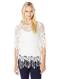 Glamorous Women's Top with Flowers and Fringe, White, Small