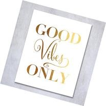 Good Vibes Only Gold Foil Decor Wall Art Print Inspirational