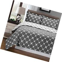 Gray and White Bloomingdale 3-PC King / Cal-King Duvet Cover