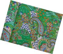 Green Color Paisley Print Kantha Quilt, Hand Stitched Queen