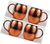 Hammered Copper Barrel Mug for Moscow Mules Size 16 Oz Set