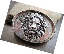 Handmade Oxidized Silver Brass Steampunk Lion Belt Buckle