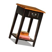 Hardwood 15 Inch Chairside End Table in Black and Oak
