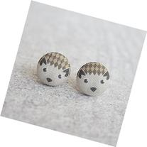 Hedgehog Fabric Button Earrings