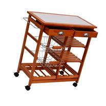 HomCom 29-Inch Portable Rolling Tile Top Kitchen Trolley
