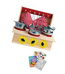 Wooden Cooking Play Set with Pots, Pans, Stove, Utensils &
