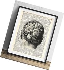 Human Brain Dissection Upcycled Dictionary Art Print 8x10