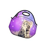 ICOLOR Cute Cat Girls Insulated Neoprene Lunch Bag Tote